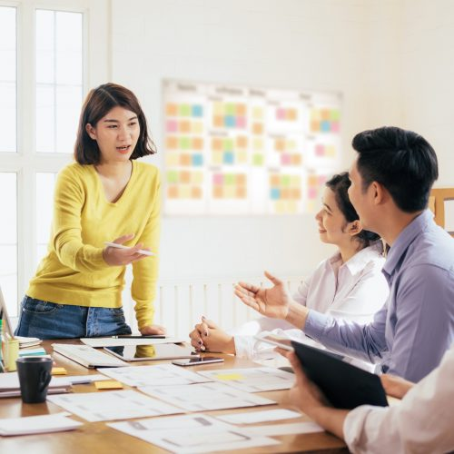 Woman presenting a marketing strategy to her colleagues.